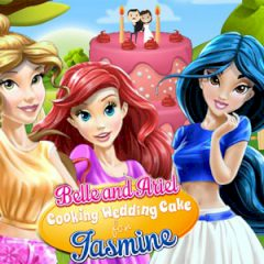 Belle and Ariel Cooking Wedding Cake for Jasmine
