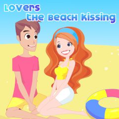 Lovers the Beach Kissing